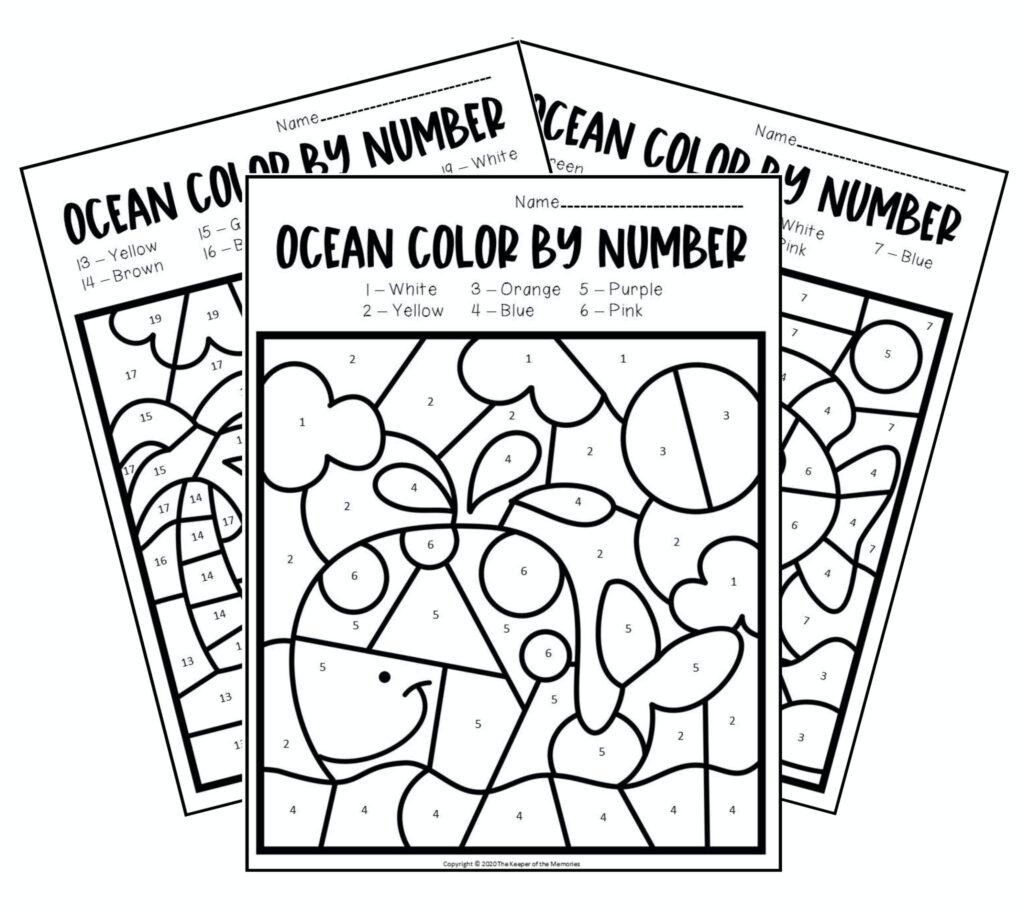 Worksheets : Free Printable Colornumber Preschool