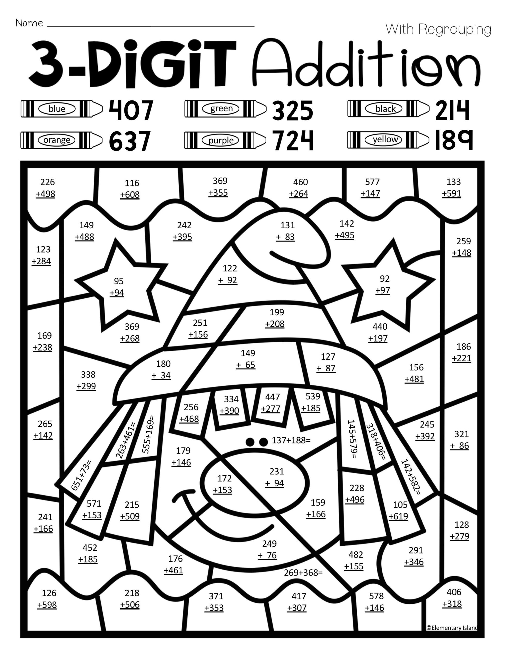 Worksheets : Halloween Three Digit Addition Colornumber