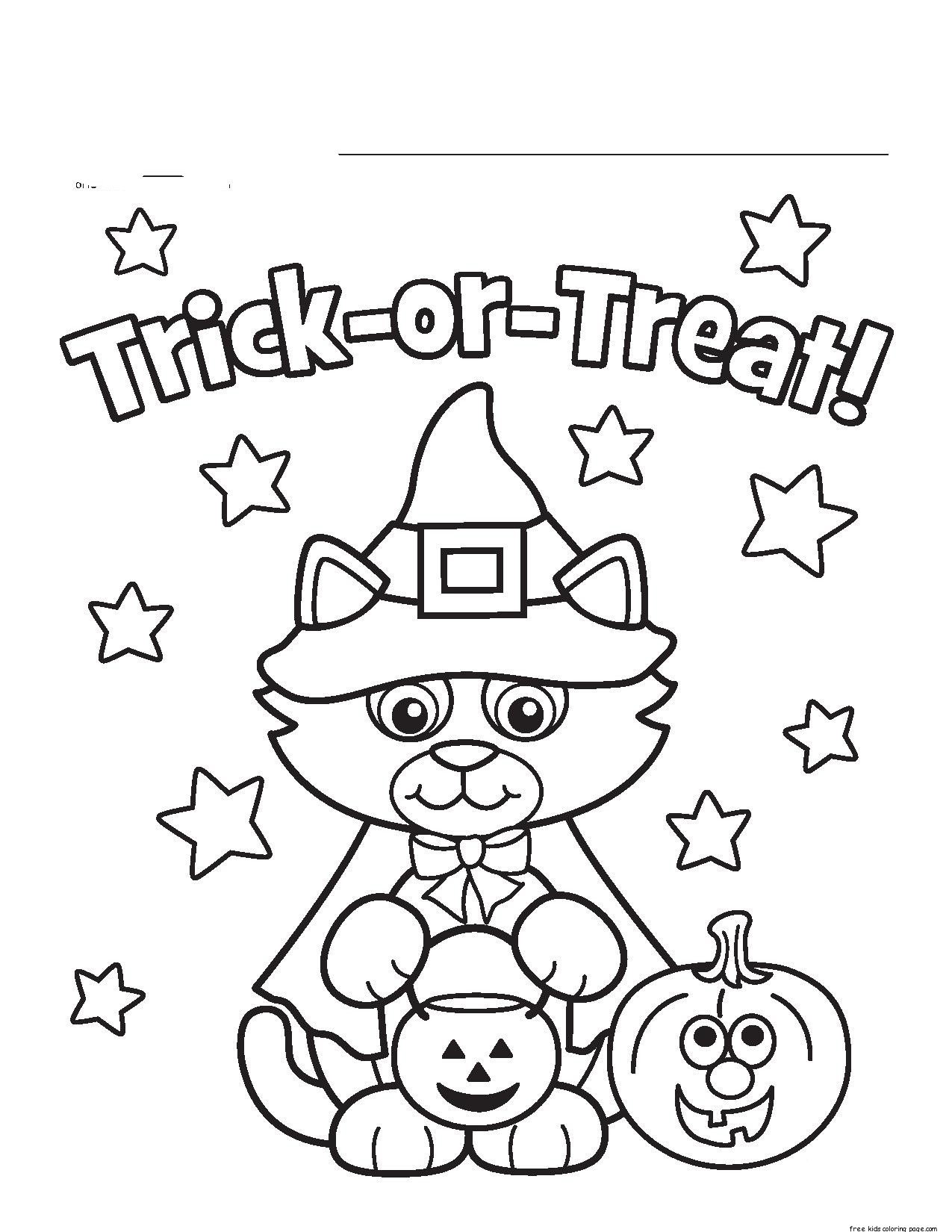 Worksheets : Little Cat Halloween Costumes Print Coloring