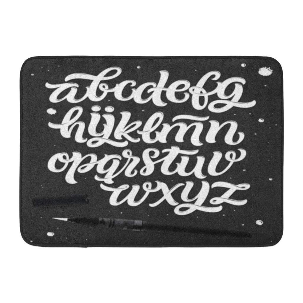 Yusdecor White Handwritten Script Brush Modern Calligraphy Cursive Typeface  Hand Lettering And Custom Alphabet Abc Rug Doormat Bath Mat 23.6X15.7 Inch
