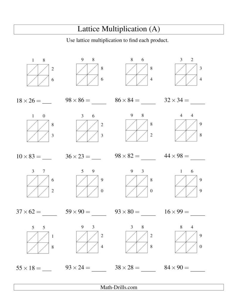 2 Digit2 Digit Lattice Multiplication (A)