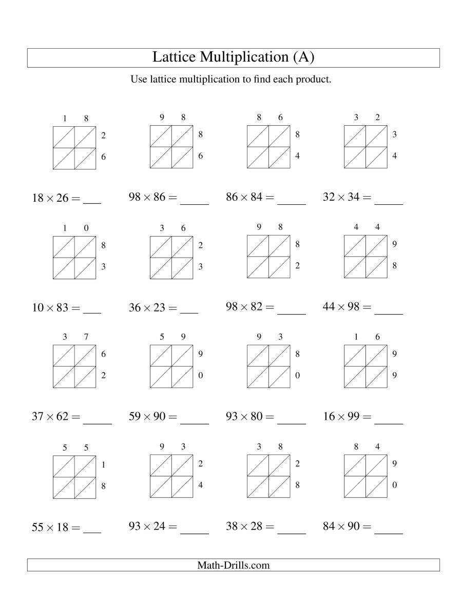 2-Digit2-Digit Lattice Multiplication (A)