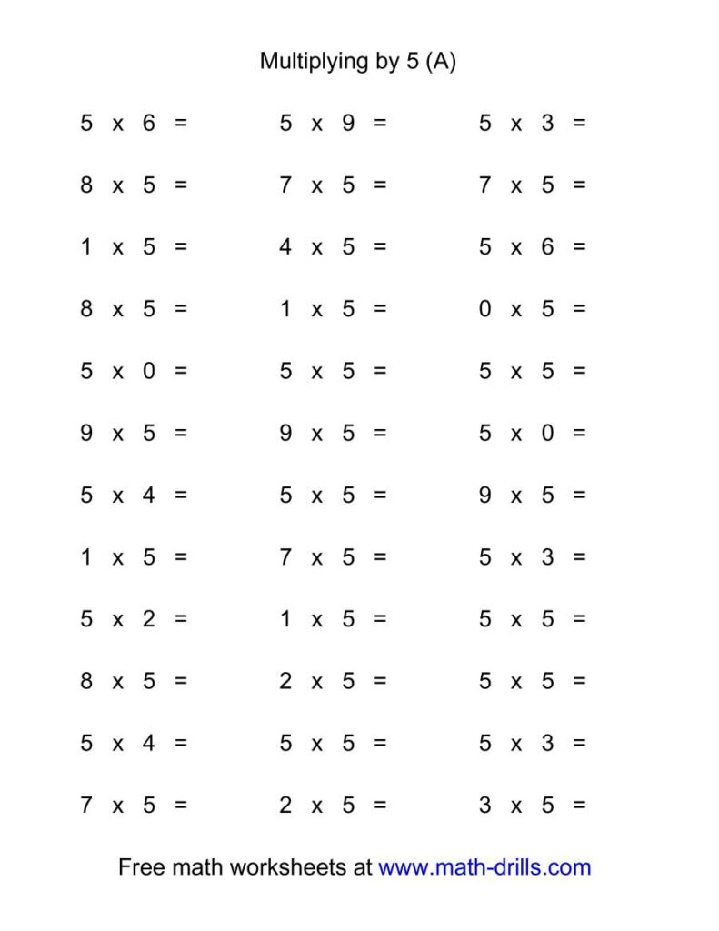 36 Horizontal Multiplication Facts Questions    50 9 (A)
