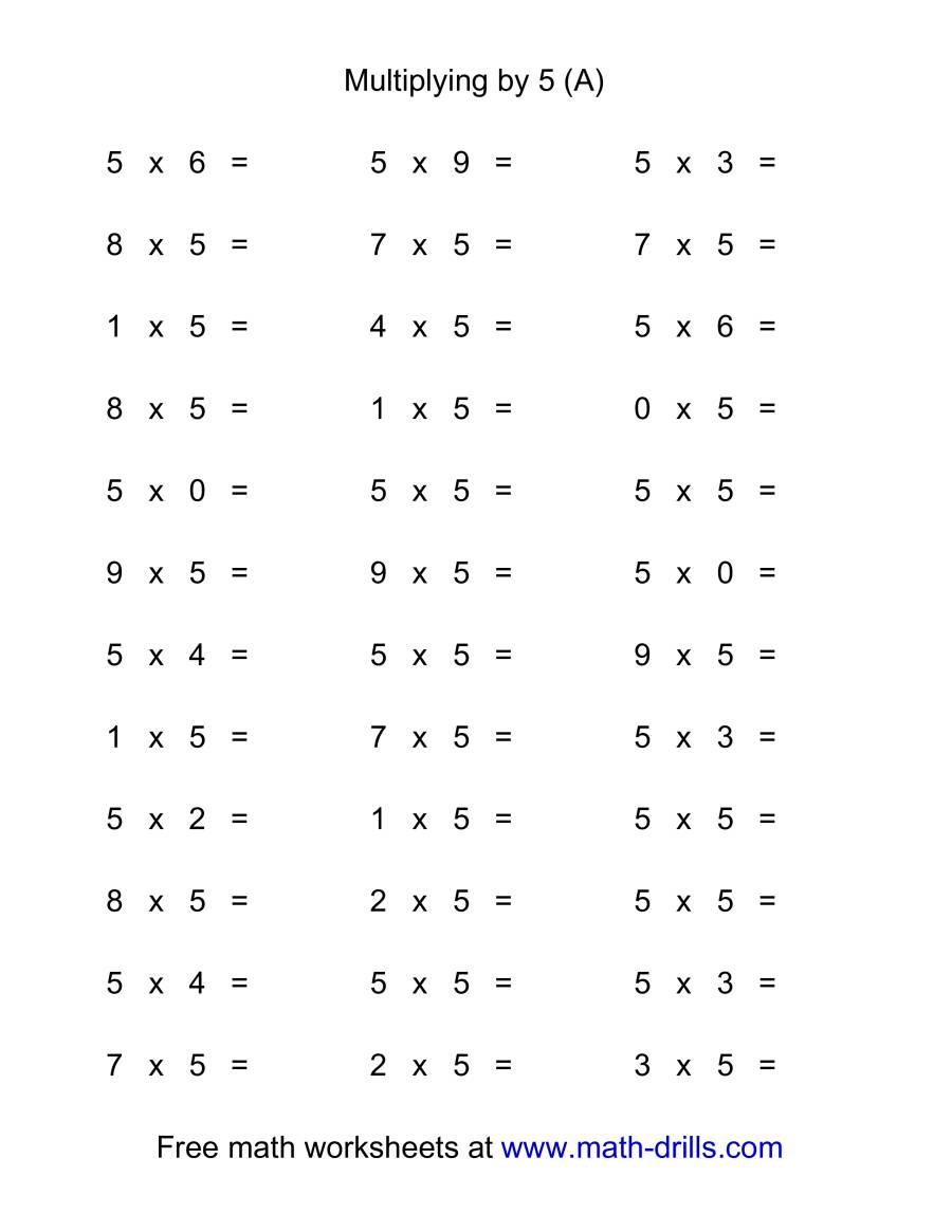 36 Horizontal Multiplication Facts Questions -- 50-9 (A)