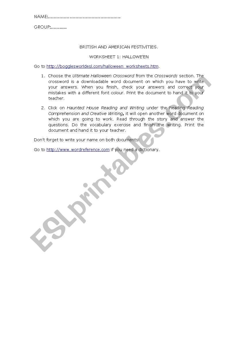 English Worksheets: Hallowe´en