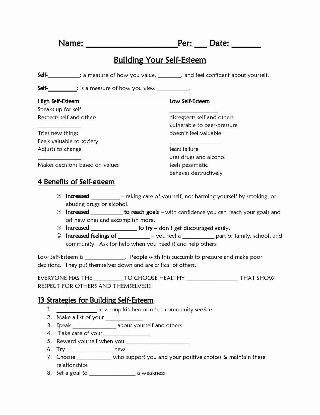 Functional Building Self Esteem Worksheets