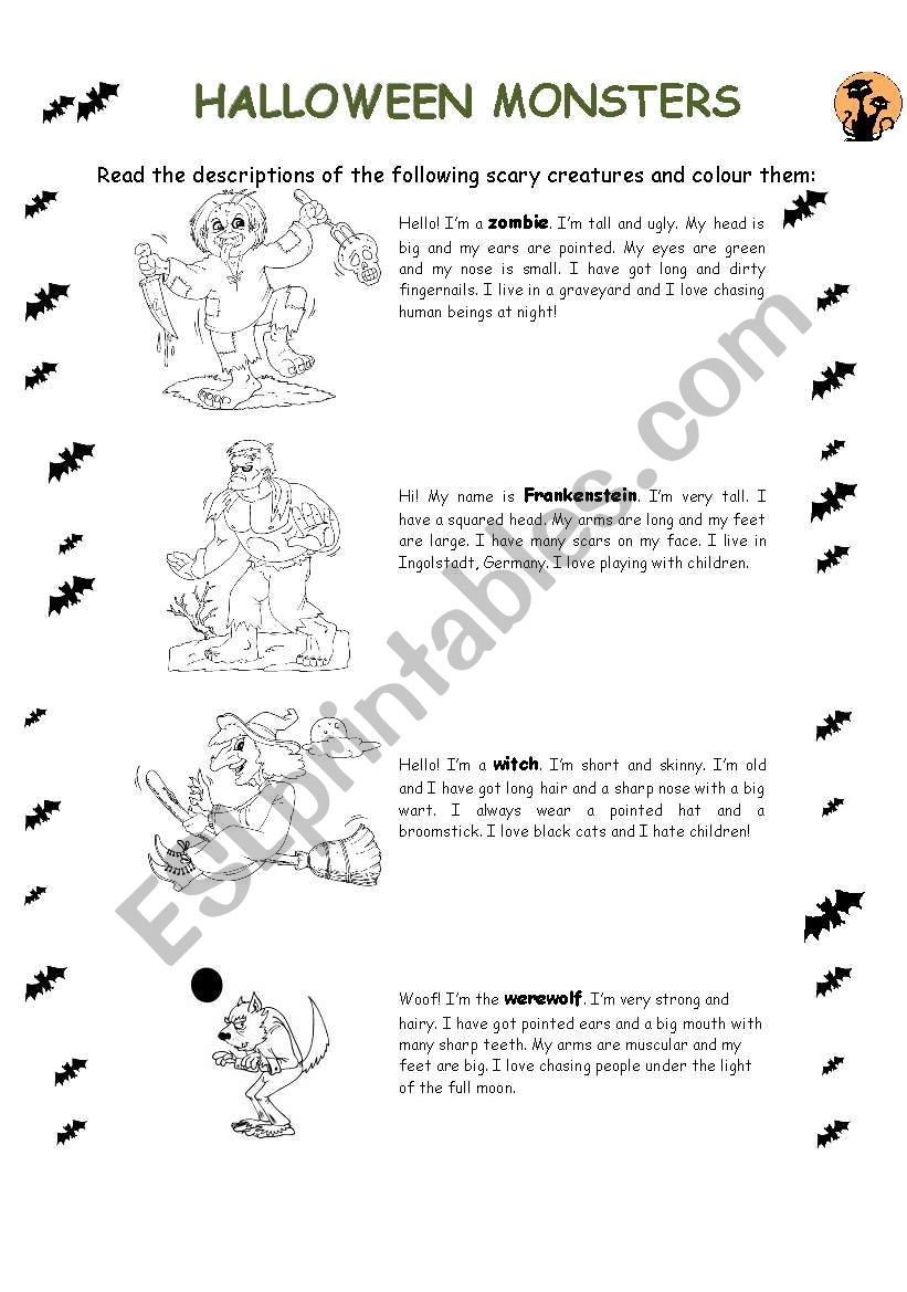 Halloween Monsters Part 1 - Esl Worksheetbeazurera