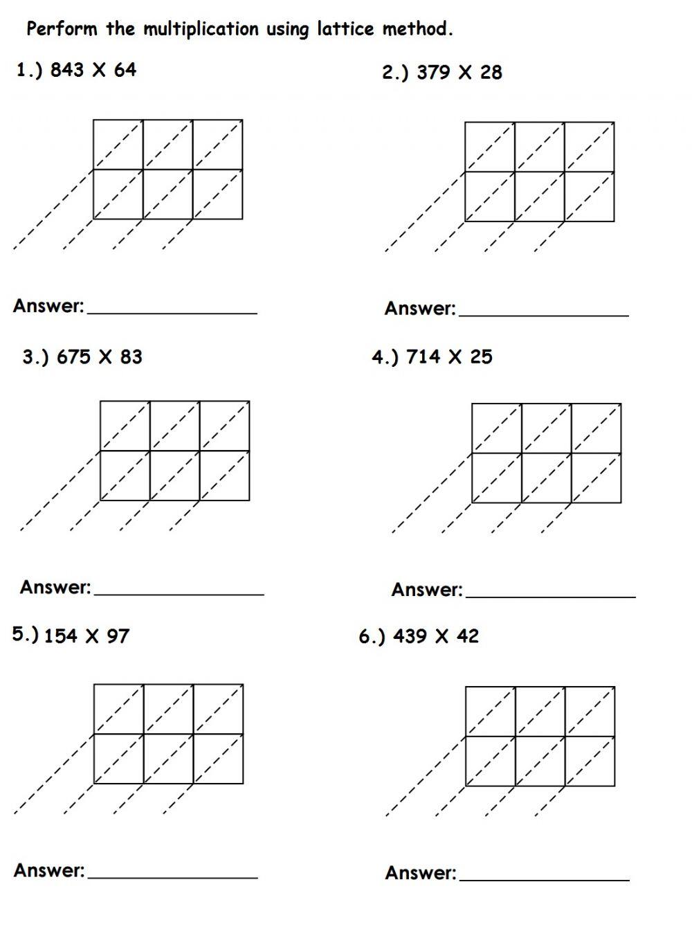 Lattice Multiplication Exercise