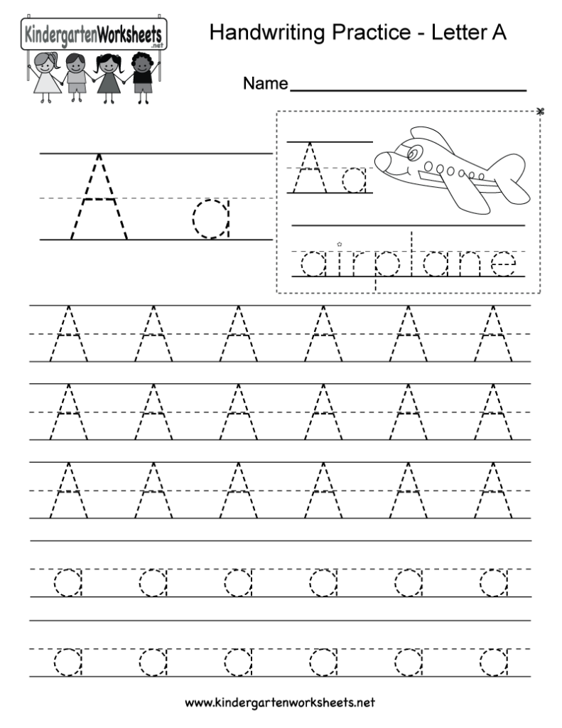 Letter A Writing Practice Worksheet   Free Kindergarten