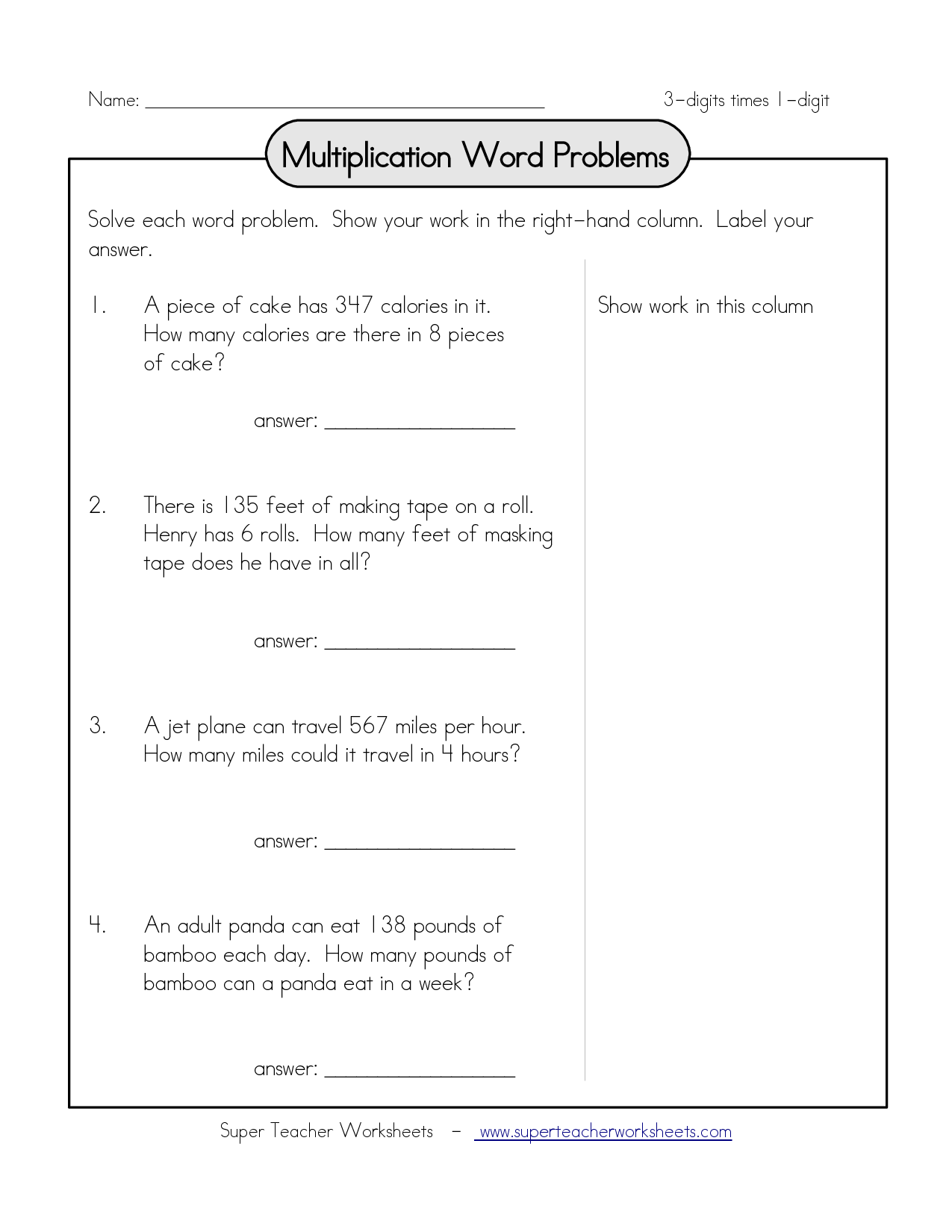 Multiplication Word Problems Name 3 Digits | Word Problems