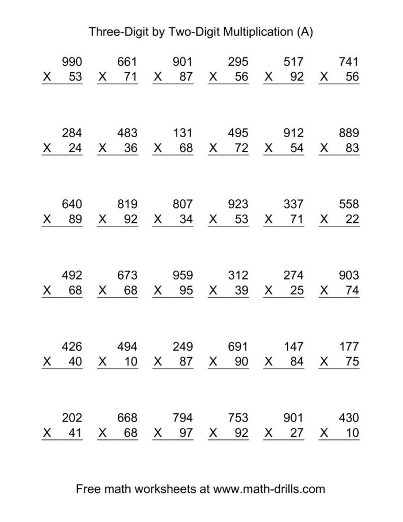 Multiplying Three Digittwo Digit    36 Per Page (A)