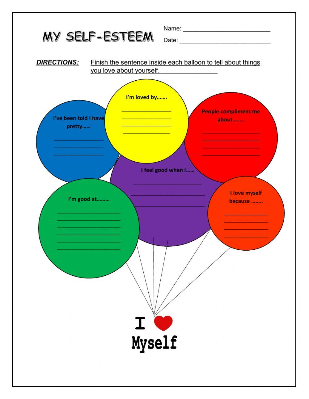 My Self-Esteem Activity Sheet Worksheet