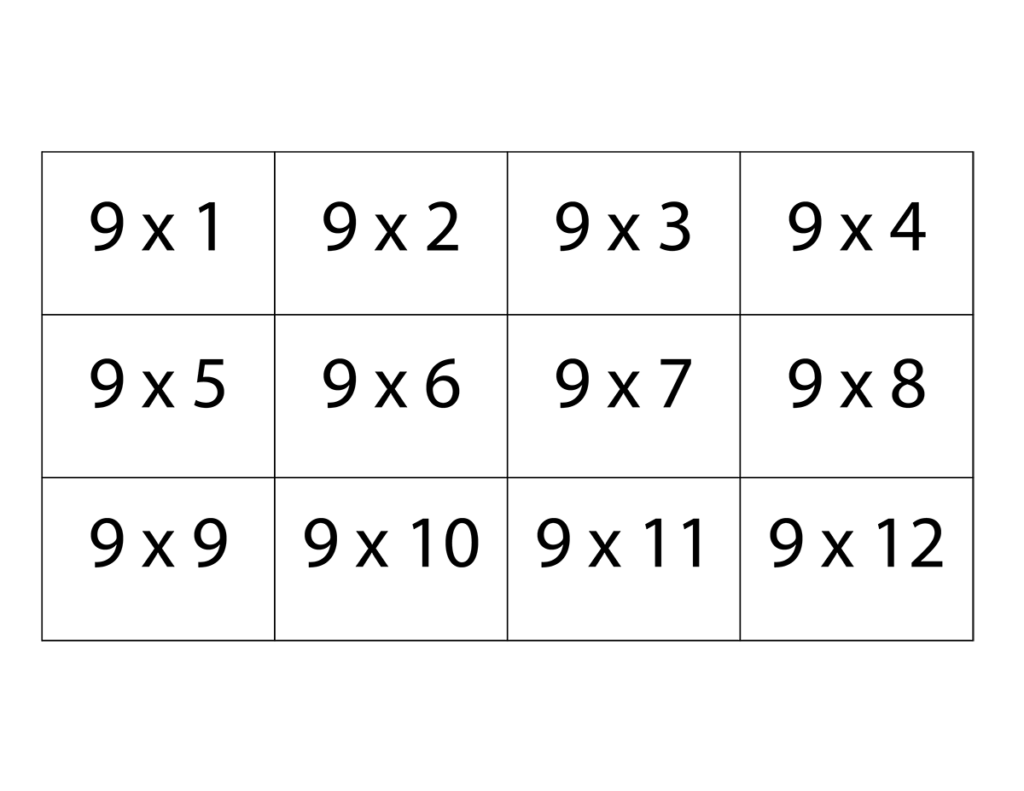 Nine Times Table Flash Cards | Multiplication Flashcards