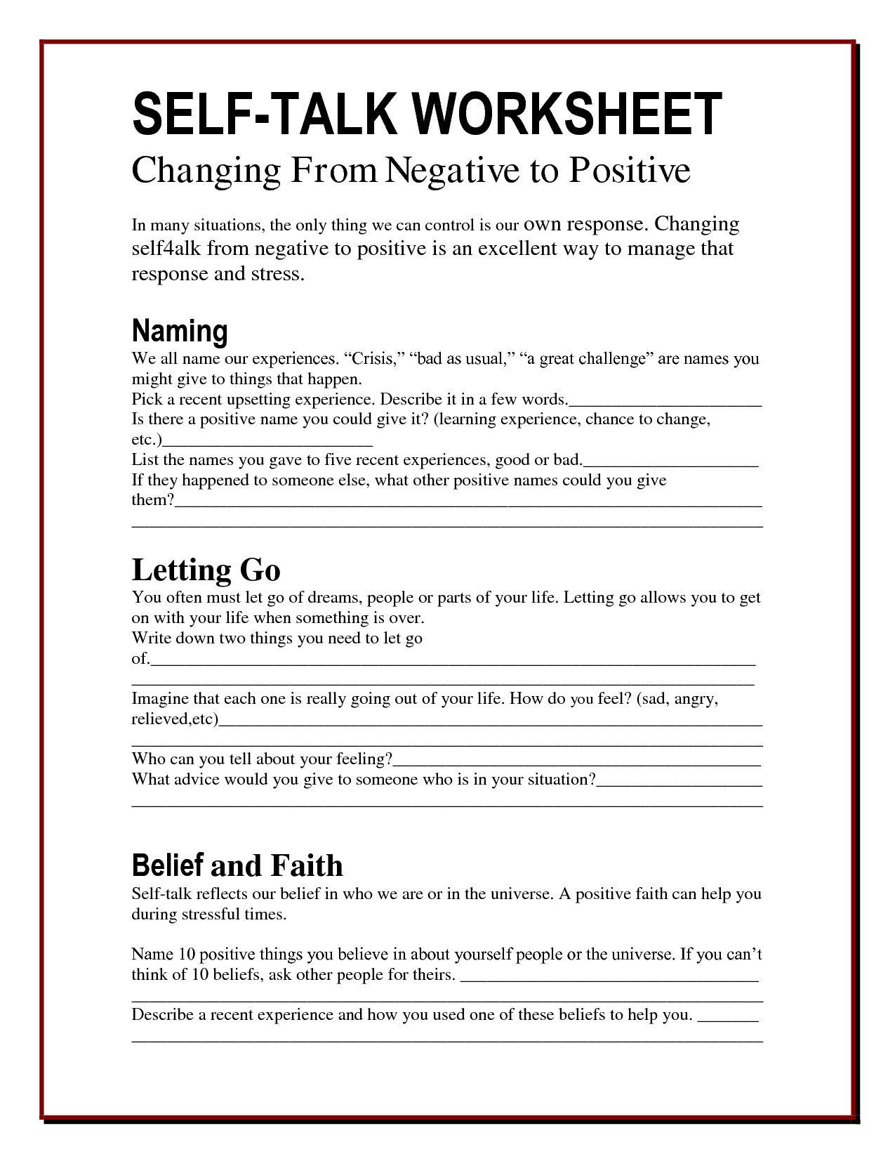 Self Esteem And Addiction Worksheets   Printable Worksheets