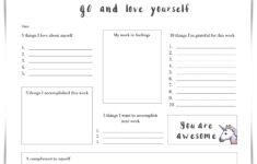 Self Esteem Recovery Worksheets