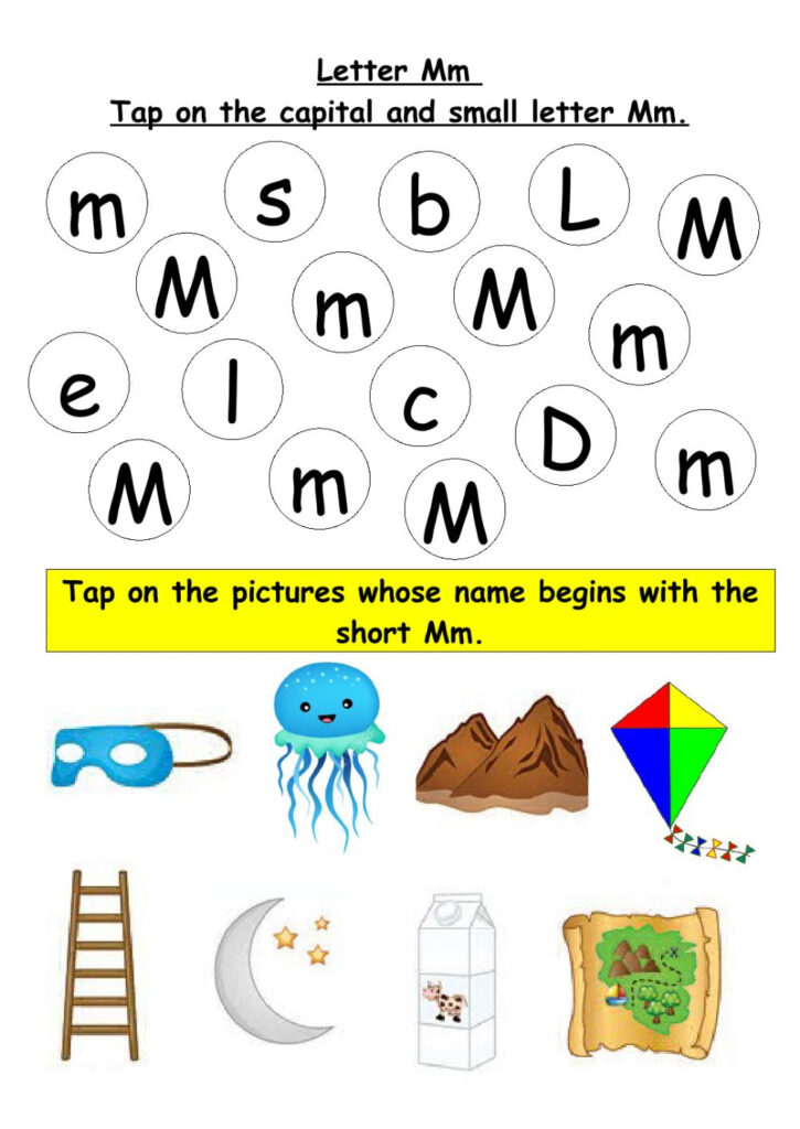 Tap On The Capital And Small Letter Mm Worksheet