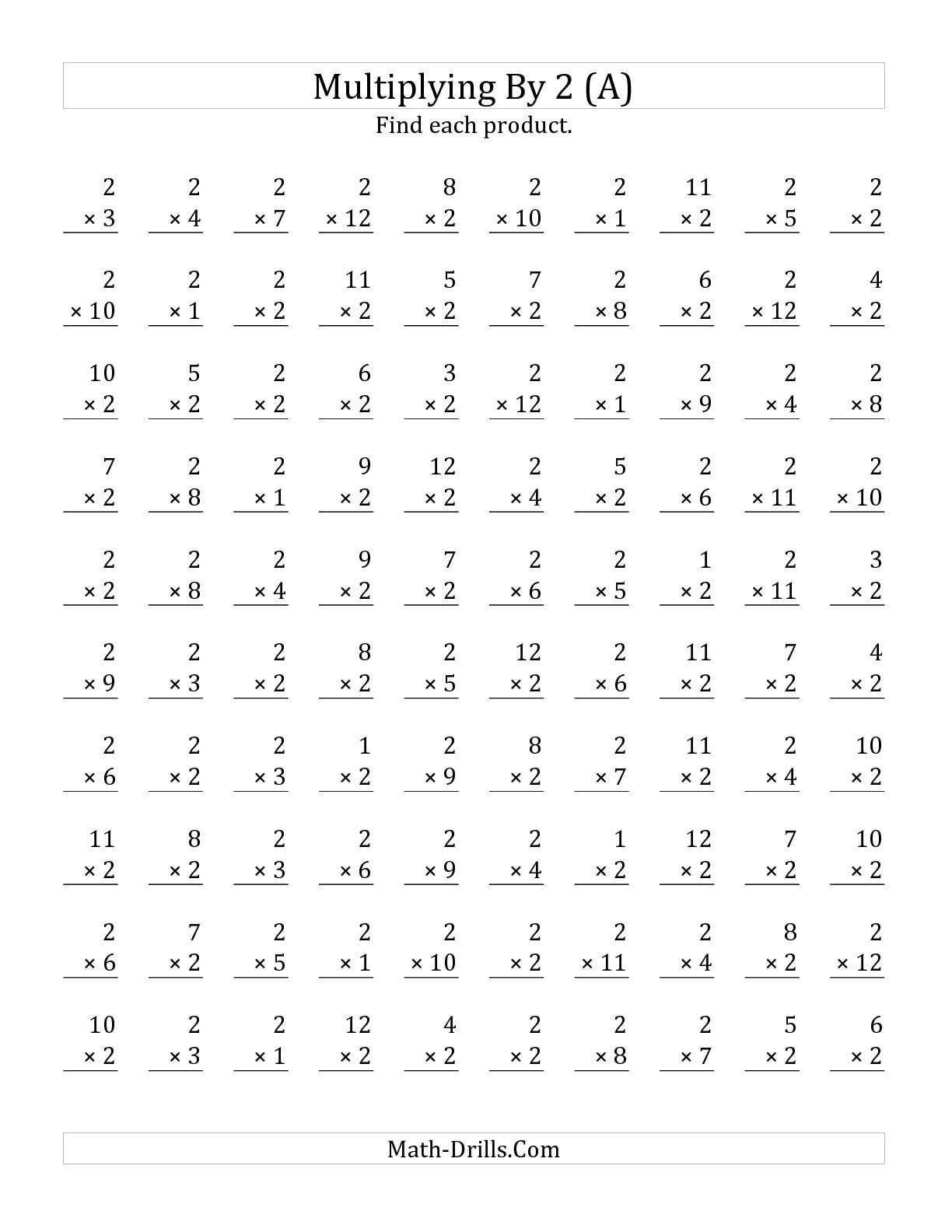The Multiplying 1 To 122 (A) Math Worksheet From The