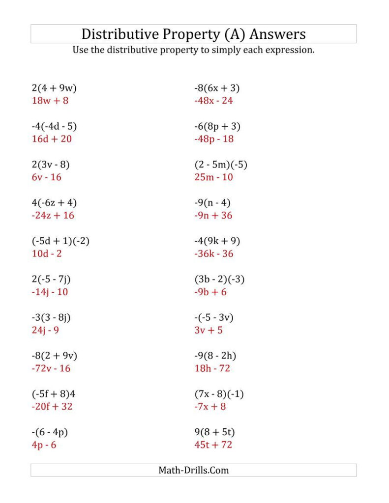 The Using The Distributive Property (Answers Do Not Include