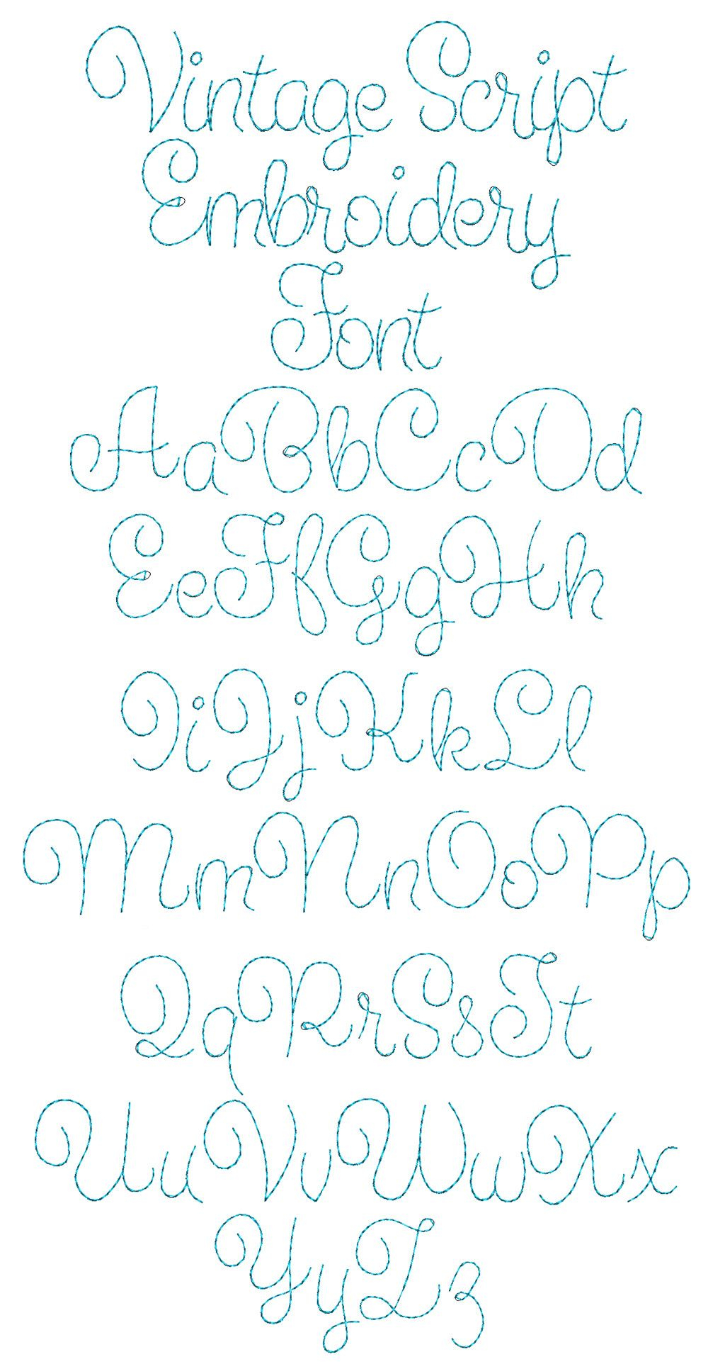 Vintage Script Font | Embroidery Fonts, Hand Embroidery