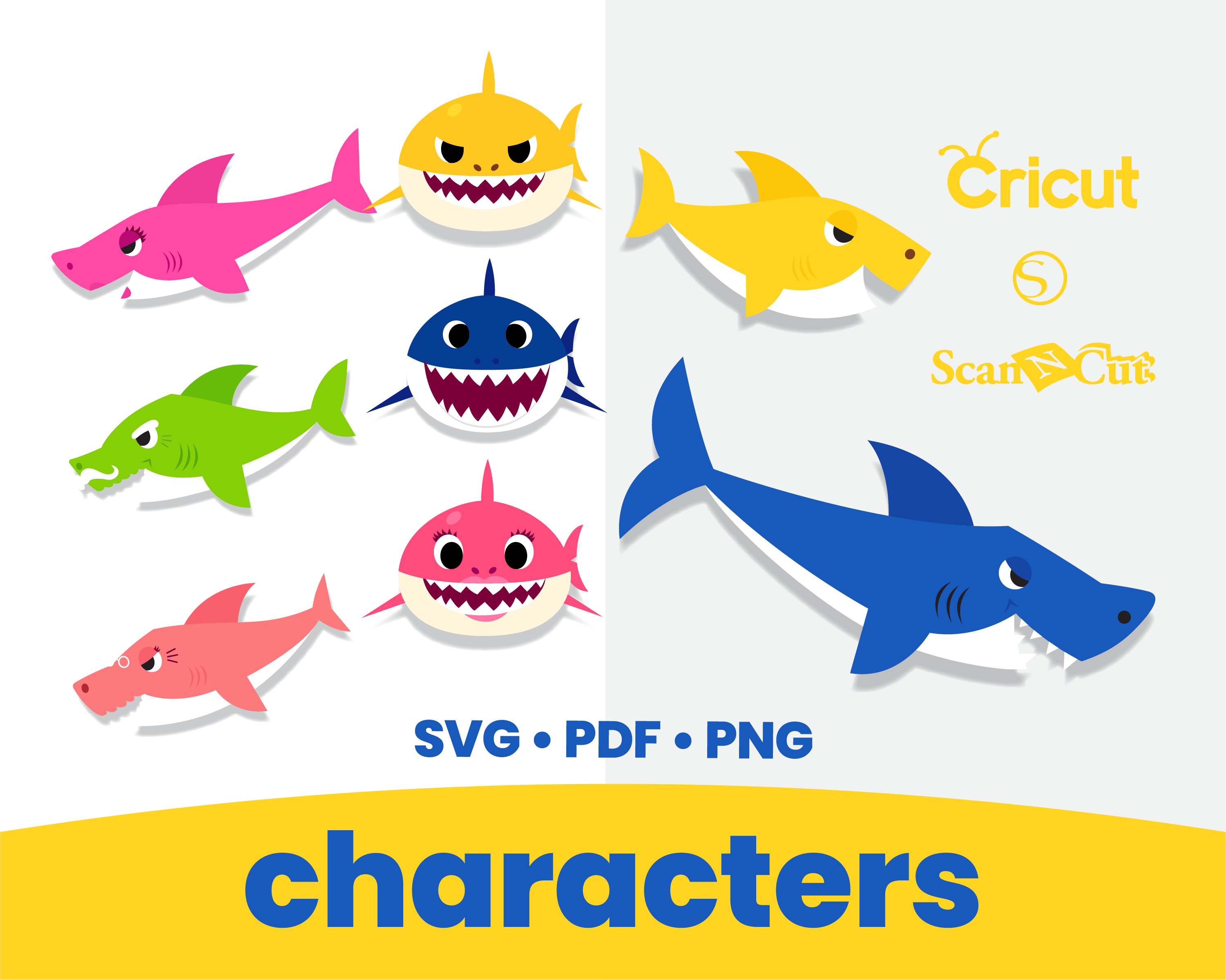 Baby Shark Printable Cut Files SVG PNG By