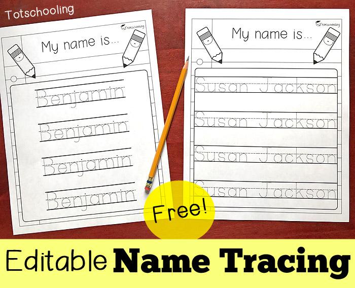 Editable Name Tracing Sheet Totschooling Toddler