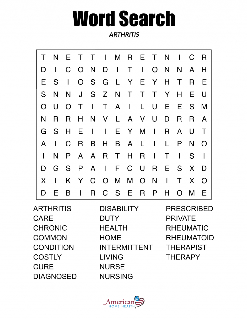 Free Printable Extra Large Print Word Search Word Search