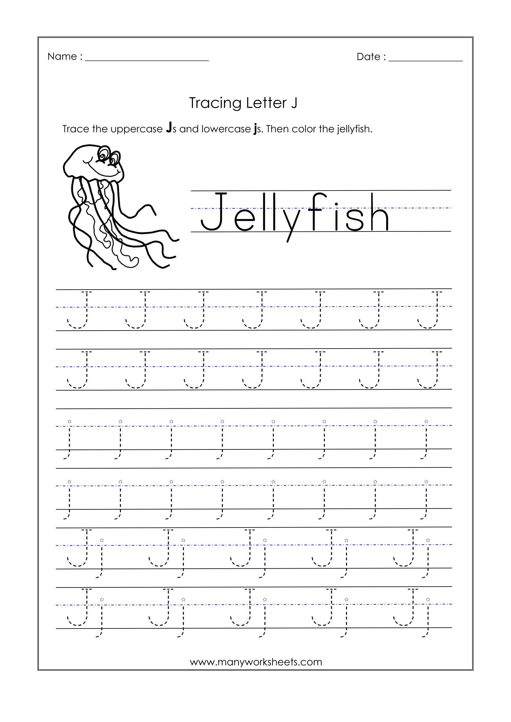 Free Printable Letter J Tracing Worksheets Dot To Dot
