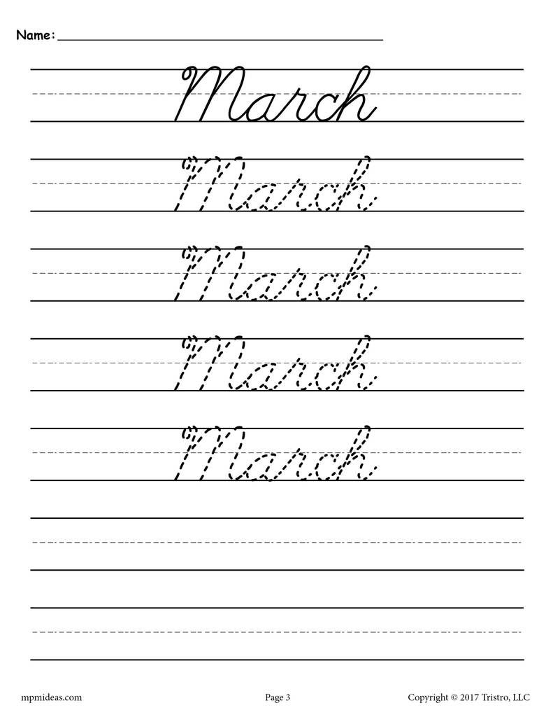 12 Months Of The Year Cursive Handwriting Worksheets