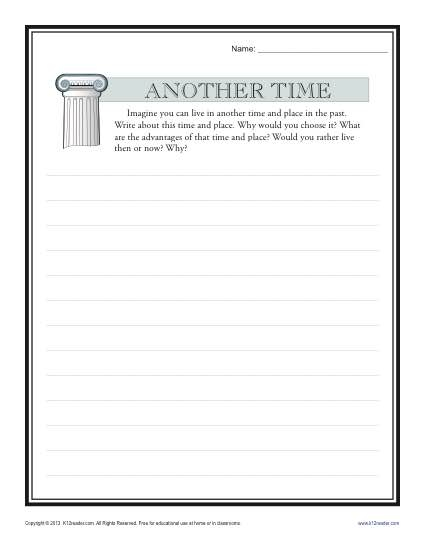 Another Time High School Writing Prompt Worksheet