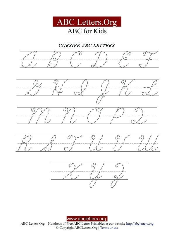 Cursive Handwriting Sheets A Z