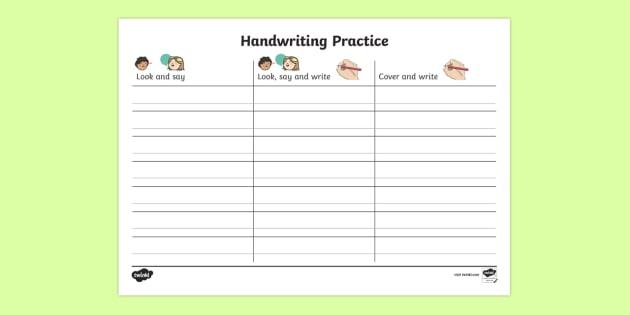 Handwriting Homework KS1 Worksheet Primary Resources