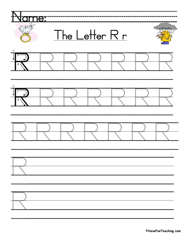 Letter R Handwriting Practice Worksheet Have Fun Teaching