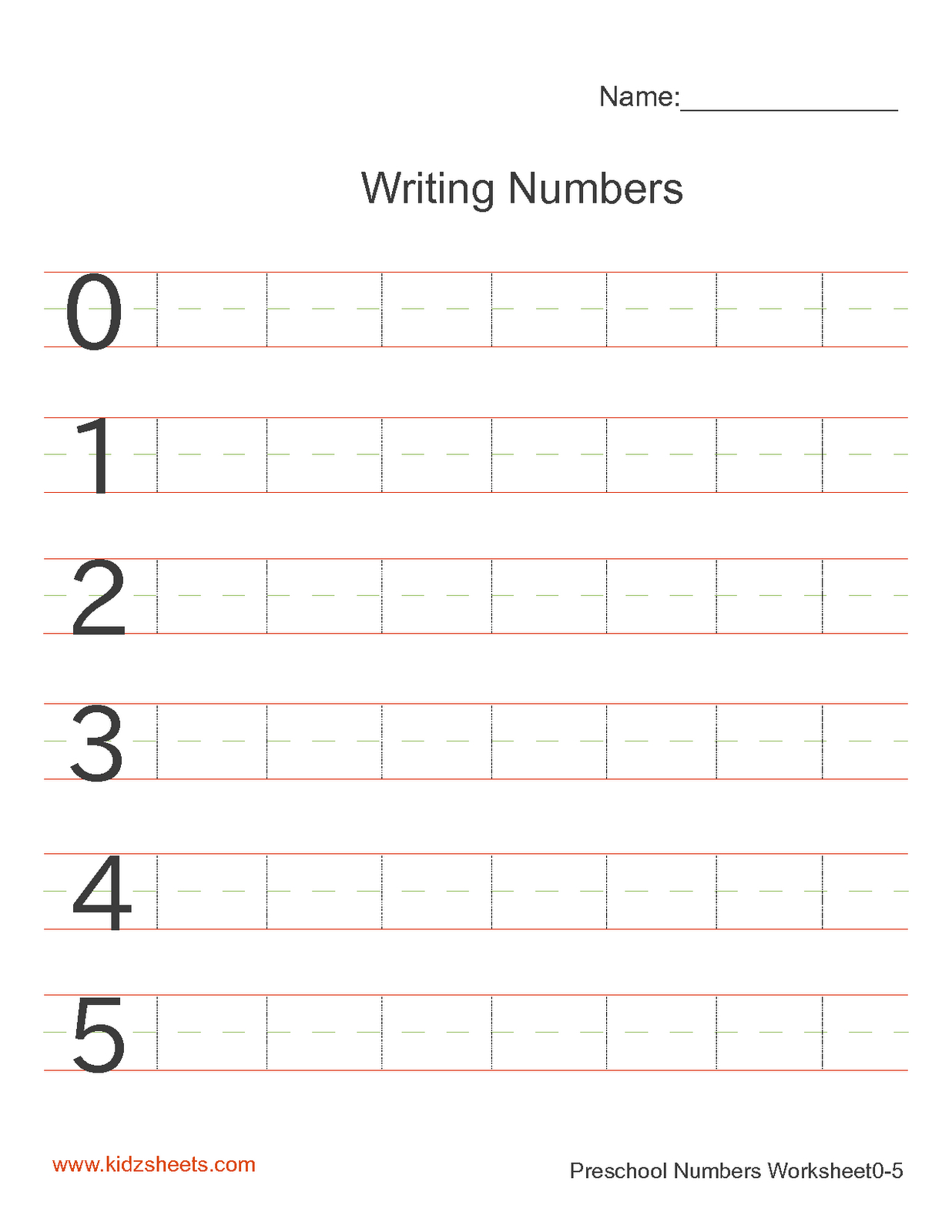 Numbers Handwriting Worksheets Hand Writing