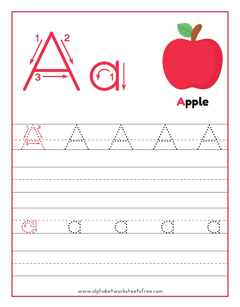 Tracing Letter A Worksheets