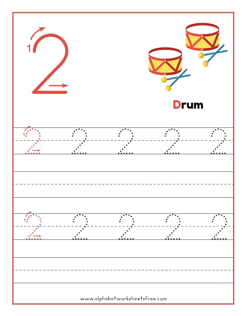 Tracing Number 2 Worksheets