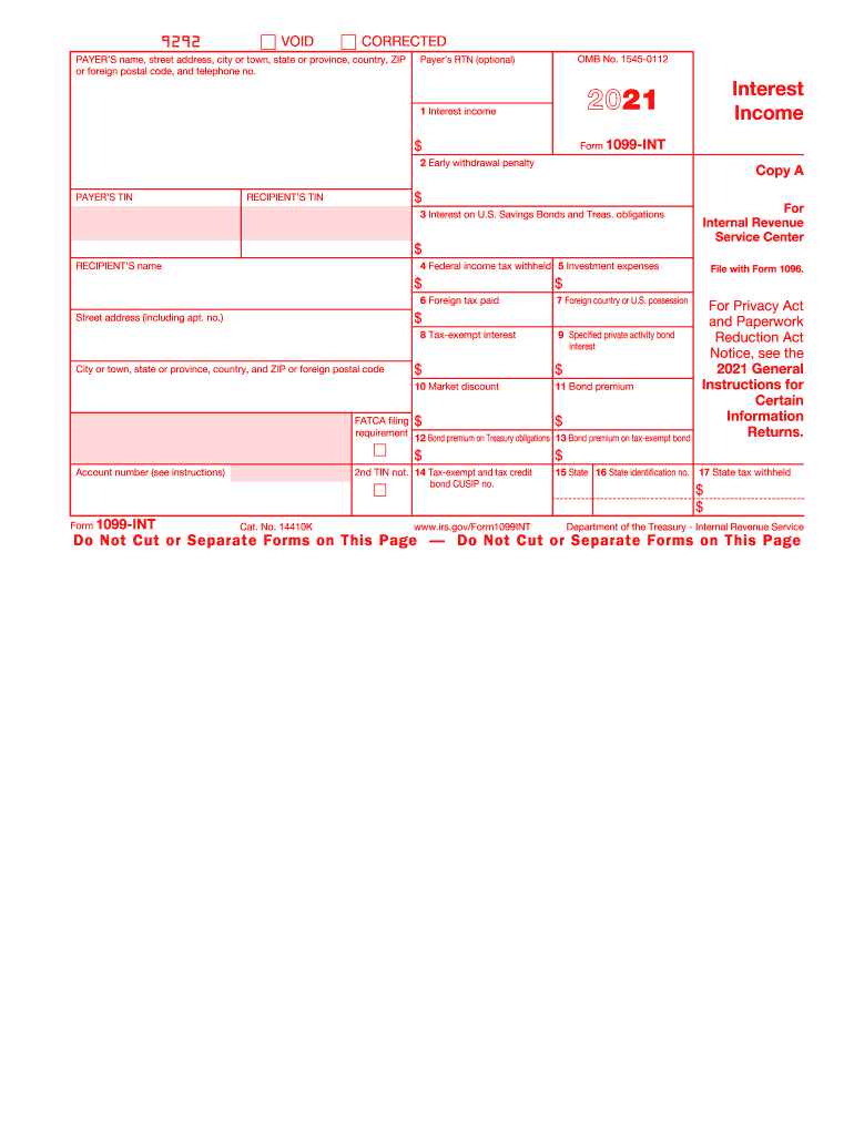 2021 Form 1099 INT Interest Income Fill Out And Sign