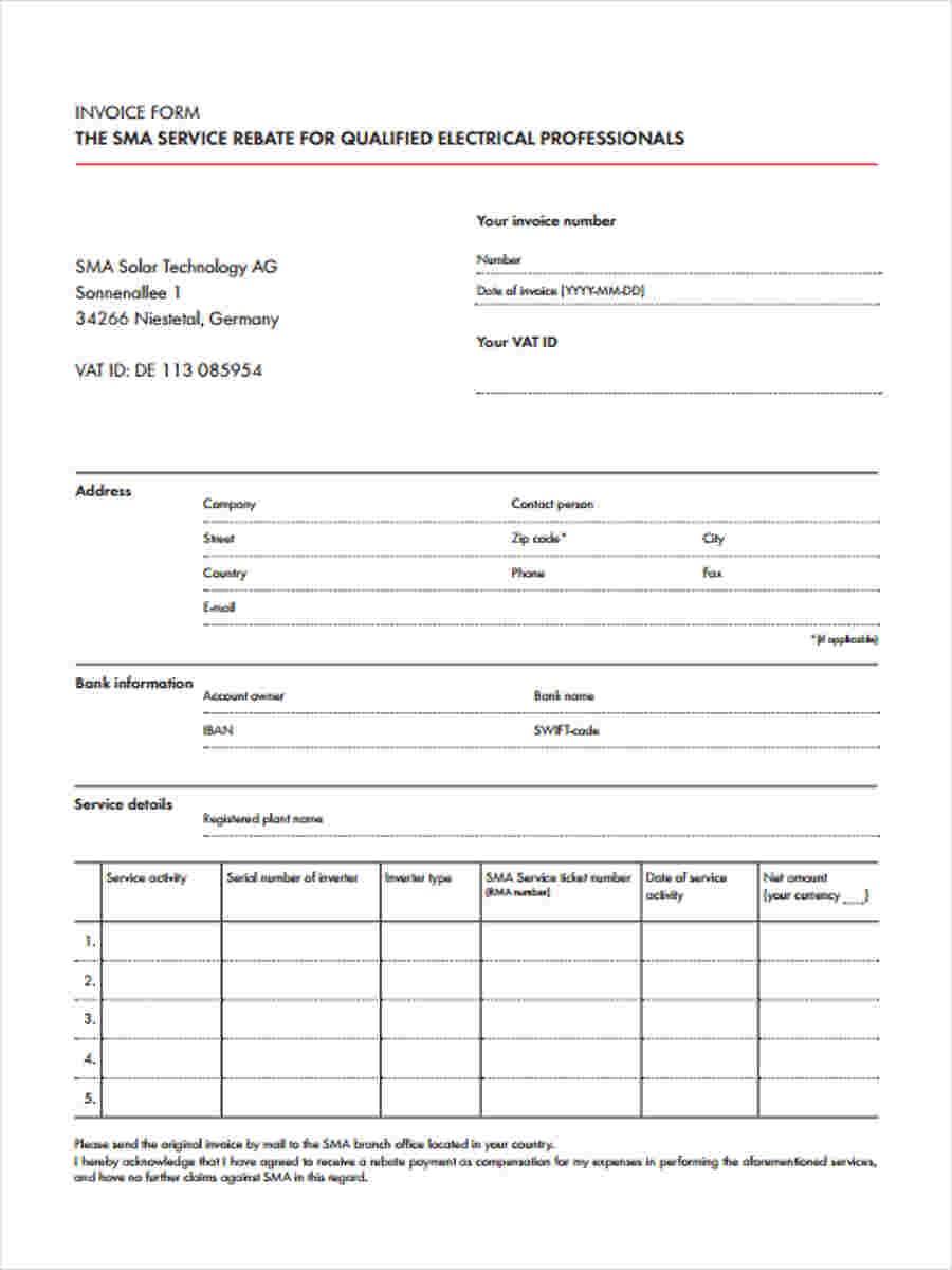 FREE 8 Printable Invoice Forms In MS Word PDF Excel