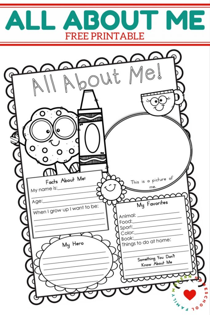 FREE All About Me Printable Modern Homeschool Family
