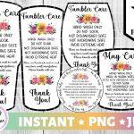 Handmade Care Free Printable Tumbler Care Instructions
