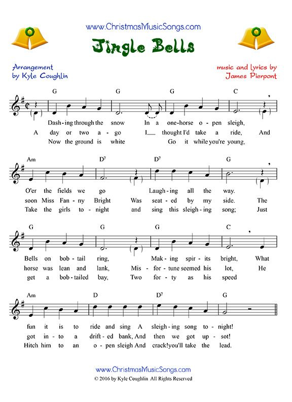 Jingle Bells Sheet Music With Lyrics Melody And Chords