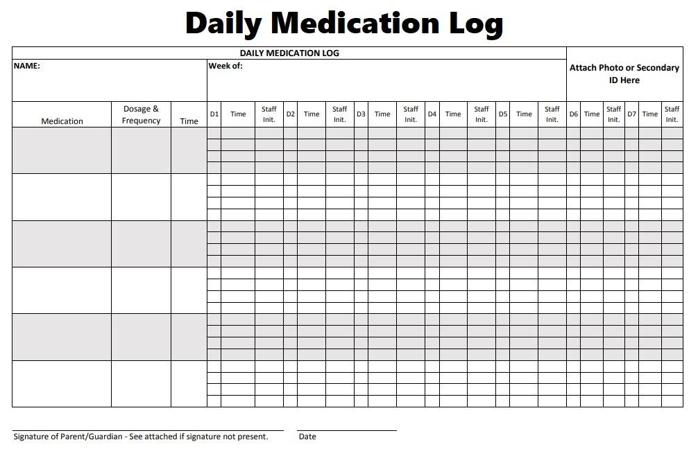 Medication Log Templates 8 Free Printable Editable MS