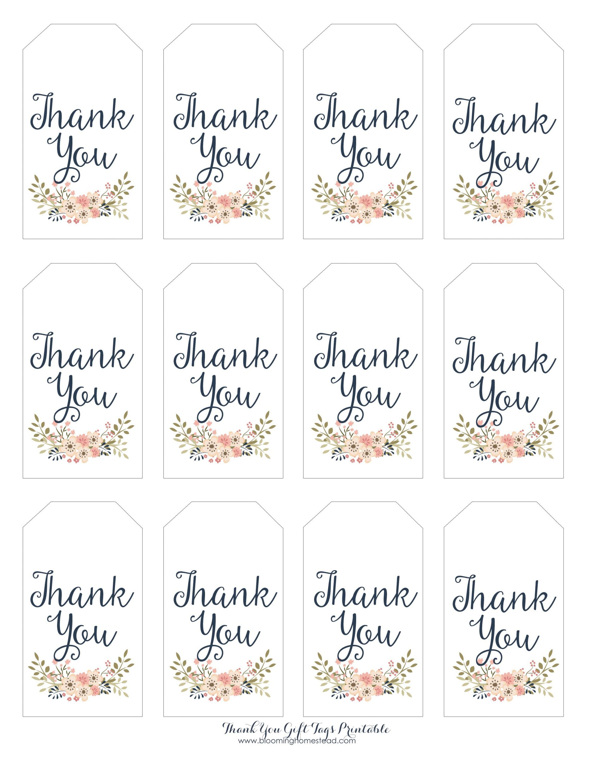 Thank You Gift Tags Blooming Homestead Gift Tags